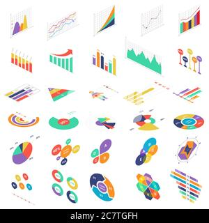 Flat 3d isometric infographic elements icons graph charts set for finance business presentation. Data statistics diagrams infographics vector illustration