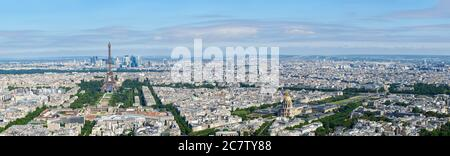 Paris aerial high resolution cityscape from Eiffel Tower to Grand Palais - Stock Photo