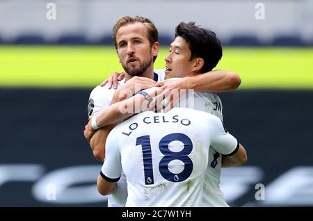 Tottenham Hotspur's Harry Kane (left) celebrates scoring his sides second goal with Son Heung-min (right) and Giovani Lo Celso during the Premier League match at the Tottenham Hotspur Stadium, London. - Stock Photo