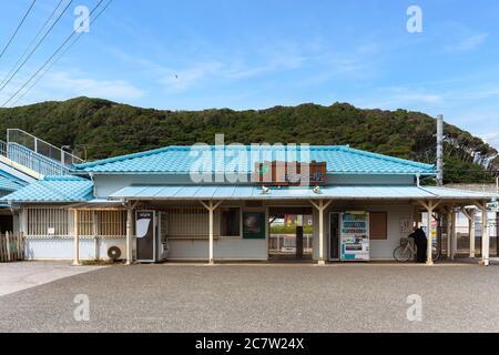 chiba, japan - july 18 2020: Local Hama-Kanaya railway train Station of Kanaya Village in Futtsu city along the Tokyo bay in the Chiba prefecture of j