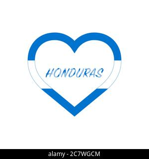 Honduras flag in heart. I love my country. sign. Stock vector illustration isolated on white background. - Stock Photo