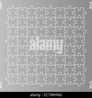 Jigsaw puzzle background. Mosaic of grey puzzle pieces with white outline in linear arrangement. Simple flat vector illustration. - Stock Photo