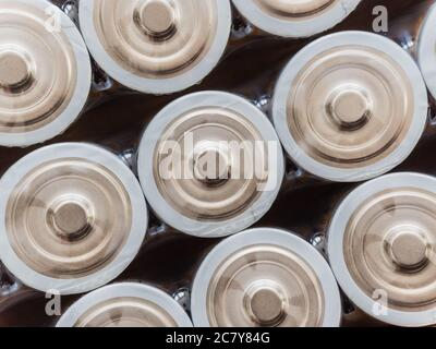 A closeup shot of a lot of batteries - Stock Photo