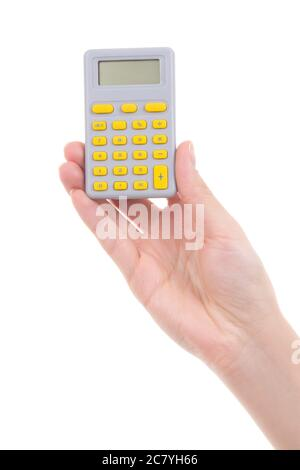 woman hand holding pocket calculator isolated on white background