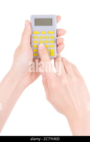 woman using pocket calculator isolated on white background
