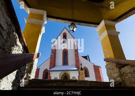 A worm's-eye view of the St. Matthäus church in Murau in Styria (Austria) - Stock Photo