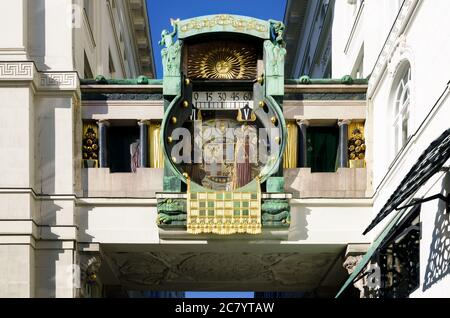The Ankerurh (Anker Clock), famous art nouveau clock from 1919 in Hoher Markt, important square of Vienna (Austria) - Stock Photo