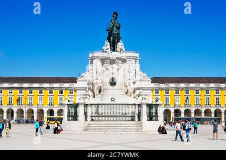 LISBON, PORTUGAL - MARCH 17: View of the Praca do Comercio on March 17, 2014 in Lisbon, Portugal. The square is dominated by the equestrian statue of