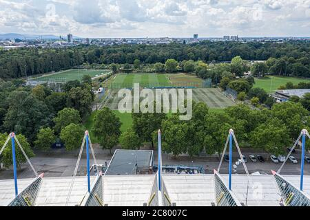Karlsruhe, Deutschland. 14th Sep, 2017. View of the secondary places, training places, training place over the roof and the roof construction of the old main stands during the conversion of the game park stadium. Drone shot of construction site at Wildparkstadion Karlsruhe. GES/Football/2nd Bundesliga Karlsruher SC Wildpark Stadium, 17.07.2020 Football/Soccer: 2nd German Bundesliga: Karlsruher SC Stadium, Karlsruhe, July 17, 2020 Drone view over KSC-Wildpark Stadium under construction | usage worldwide Credit: dpa/Alamy Live News - Stock Photo