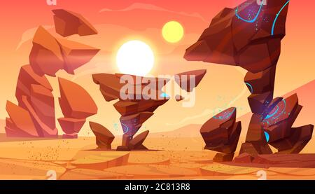 Alien planet desert in cosmos. Mars landscape with ocher ground surface with sandstorm, rocks, blue sparkles, two suns on sky. Martian extraterrestrial pc game backdrop, Cartoon vector illustration - Stock Photo