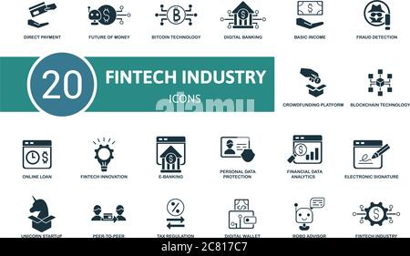 Fintech Industry icon set. Collection contain robo advisor, peer-to-peer, fintech innovation, digital wallet and over icons. Fintech Industry elements - Stock Photo