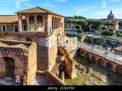 House of Knights of Rhodes on Forum of Augustus, Rome, Italy. It is old tourist attraction of Rome. Medieval building and ancient ruins in Roma city c - Stock Photo