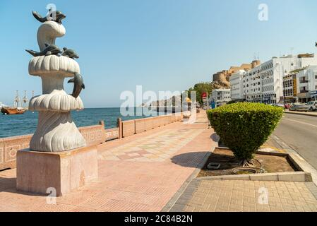 Mutrah, Oman - February 10, 2020: Gulf of Oman Promenade in the center of Mutrah, province of Muscat, Sultanate of Oman, Middle East