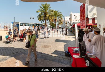 Mutrah, Oman - February 10, 2020: Tourists visiting center of Mutrah in province of Muscat, Sultanate of Oman, Middle East