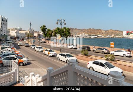 Mutrah, Oman - February 10, 2020: Urban view of the center of Mutrah on the Gulf of Oman coast in province of Muscat, Sultanate of Oman, Middle East