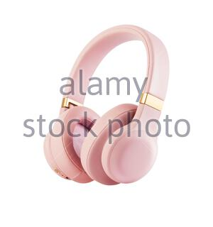 Bluetooth Headphones Isolated on White Background. Side View Dusty Rose Combined Wireless and Wired Over-the-Ear Headset With Noise Cancelling and Int - Stock Photo