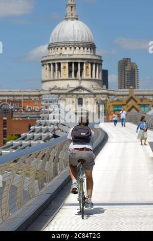 London, England, UK. Millennium Bridge looking towards St Paul's Cathedral - very quiet during the COVID-19 pandemic, July 2020 - Stock Photo