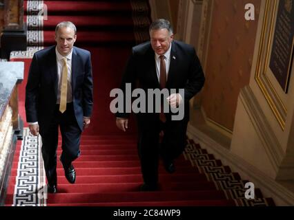 Foreign Secretary Dominic Raab (left), walks up the Grand Staircase inside the Foreign and Commonwealth Office (FCO) in London, with the United States Secretary of State, Mike Pompeo, as they arrive ahead of a working lunch. - Stock Photo