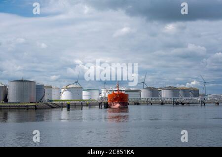 A docked Chemical and Oil Products Tanker in the Europoort, The Netherlands