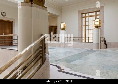 The upper lobby. Hackney Town Hall, London, United Kingdom. Architect: Hawkins Brown Architects LLP, 2017.