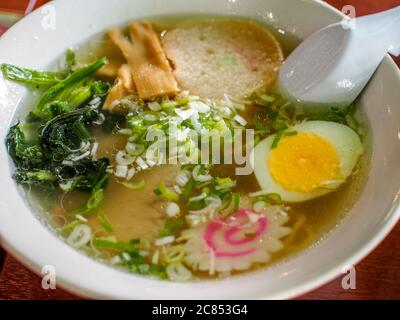 Hakodate, Hokkaido, Japan - Shio Ramen, Japanese traditional noodle soup with a pale, clear broth made with salt, chicken, vegetables, and fish.