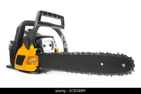 Electric chainsaw isolated on white - Stock Photo