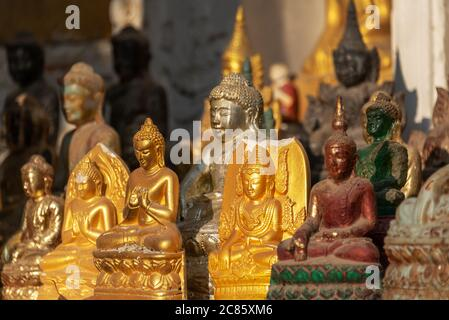 Collection of Buddha statues in Kuthodaw pagoda, Mandalay, Burma, Myanmar - Stock Photo