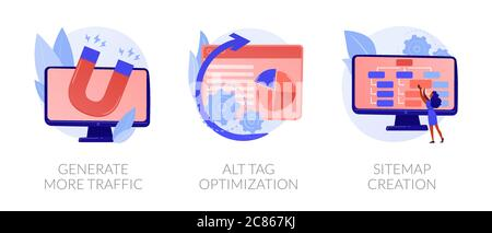 SEO results vector concept metaphors. - Stock Photo