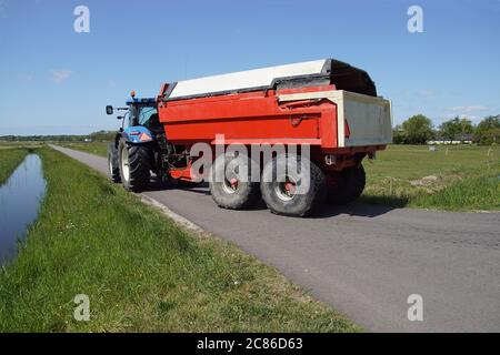 Blue tractor with a red trailer coupled behind it, driving on a road along the meadows near the Dutch village of Bergen. Spring, May, Netherlands - Stock Photo