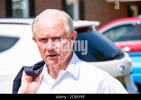 Mobile, ALABAMA, USA. 14th July, 2020. Former United States Attorney General Jeff Sessions after voting in the run-off election for the Republican Senate nomination for Alabama in Mobile, Alabama USA on July 14, 2020. Session lost the run-off to Tommy Tuberville, who will face off against incumbent Democrat Doug Jones during the general election in November. Credit: Dan Anderson/ZUMA Wire/Alamy Live News - Stock Photo