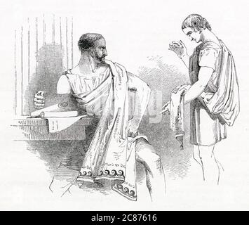 Illustration by Kenny Meadows to Timon of Athens, by William Shakespeare. Timon's servant visits Sempronius, with a request for money, as Timon has been generous to Sempronius in the past. Sempronius is unsympathetic and says he is unable to help.     Date: 1840