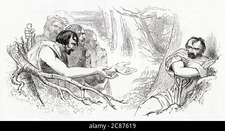Illustration by Kenny Meadows to Timon of Athens, by William Shakespeare. In the woods outside Athens, thieves come to Timon asking for gold, but he has none. Instead he tells them they can live by eating and drinking what nature has to offer.      Date: 1840