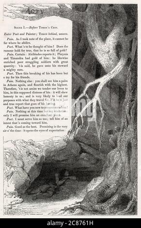 Illustration by Kenny Meadows to Timon of Athens, by William Shakespeare. Timon hiding near his cave overhears a poet and a painter gossiping about him.      Date: 1840