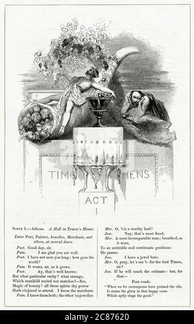 Illustration by Kenny Meadows to Timon of Athens, by William Shakespeare. Depicting Timon as a rich, pleasure-loving man at the beginning of the play, and as a poor, misanthropic outcast at the end.      Date: 1840