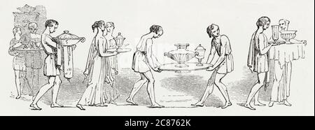 Illustration by Kenny Meadows to Timon of Athens, by William Shakespeare. Timon plays a trick on his so-called friends by inviting them to dinner, but when his servants carry in the dishes and the covers are removed, they are found to contain warm water.      Date: 1840