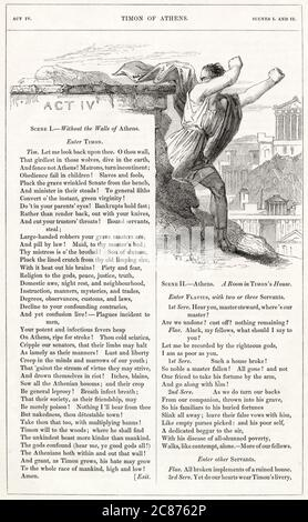Illustration by Kenny Meadows to Timon of Athens, by William Shakespeare. Timon leaves Athens in disgust at the way his parasitical friends have treated him.      Date: 1840