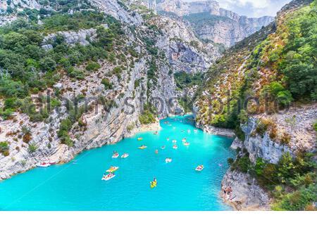 Lake of Sainte-Croix, Gorges du Verdon, Alpes-de-Haute Provence, Provence, France, Europe - Stock Photo