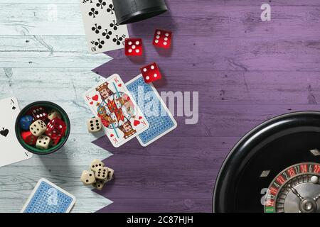Qatar Casino Theme Aces In Poker Game Cards And Chips On Red Table With National Flag Background Gambling And Betting Stock Photo Alamy