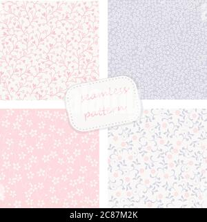 collection of 4 vintage colorful seamless patterns - Stock Photo