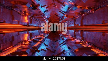 3d render metal sci-fi neon tunnel with red and blue light effect.