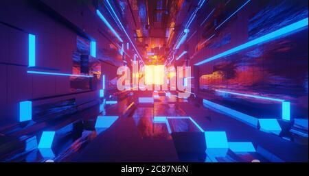 3d render neon sci-fi metal corridor background with blue, yellow, orange light effect.