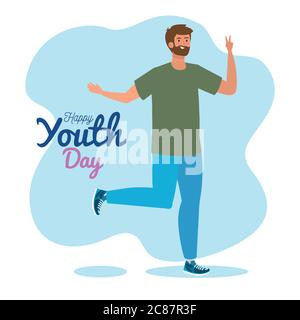 happy youth day, young man happy for celebration youth day