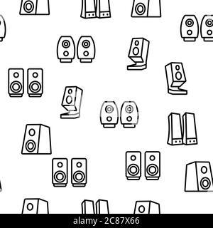 Audio Music Speakers Vector Seamless Pattern - Stock Photo