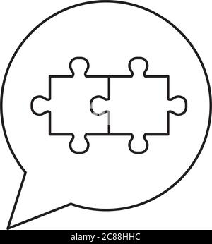 speech bubble with jigsaw pieces icon over white background, line style, vector illustration - Stock Photo