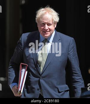 London, UK. 22nd July, 2020. British Prime Minister Boris Johnson leaves No.10 Downing St for Prime Minister's Questions in the Houses of Parliament in London on Wednesday, July 22, 2020. Photo by Hugo Philpott/UPI Credit: UPI/Alamy Live News Stock Photo