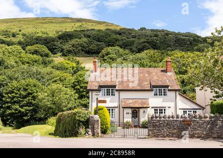 A tiled house on Exmoor National Park in the village of Bossington, Somerset UK
