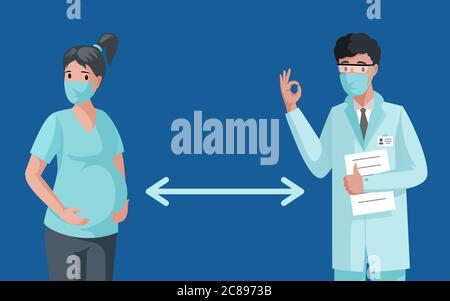 Social distancing banner concept. Pregnant woman and doctor or medical worker in face masks keeping distance during Coronavirus outbreak vector flat illustration. Maintain safe distance in public.