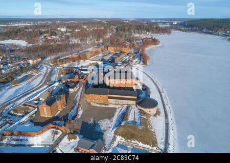Above the old fortress-prison Hameenlinna on a sunny March day (aerial photography). Finland - Stock Photo