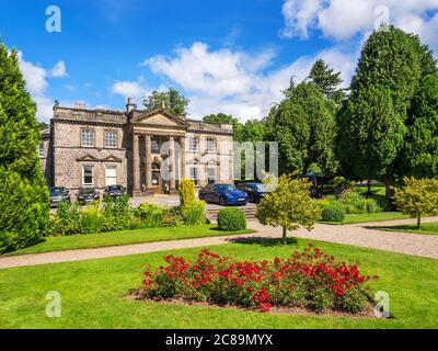 Conyngham Hall from the sunken garden Knaresborough North Yorkshire England - Stock Photo
