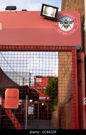 London, UK. 22nd July, 2020. Brentford FC face what could potentially be their last game at Griffin Park, Barnsley being tonight's opponent. Brentford require just one more point than West Brom to secure automatic promotion into the Premier League. Credit: Liam Asman/Alamy Live News Stock Photo